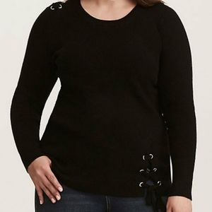 Torrid Grommet Lace Up Detailed Sweater Black 3